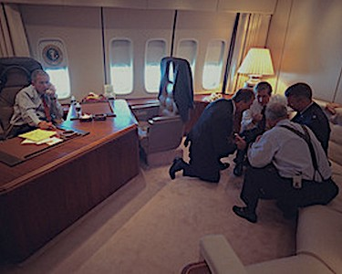 Mark Rosenker and staff with President George W. Bush aboard Air Force one